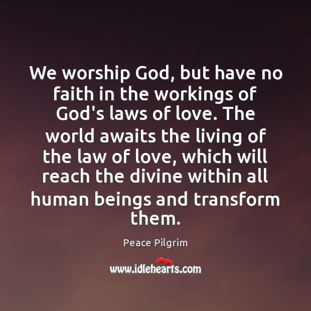 We worship God, but have no faith in the workings of God's Peace Pilgrim Picture Quote