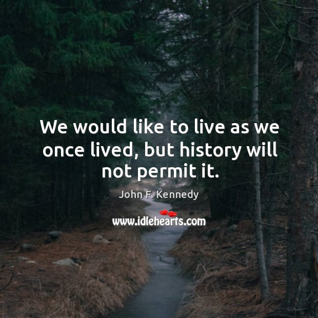 Image, We would like to live as we once lived, but history will not permit it.