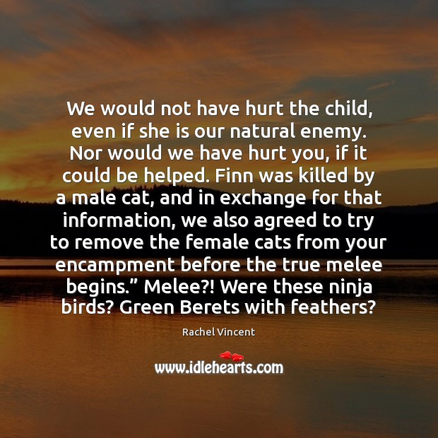 We would not have hurt the child, even if she is our Rachel Vincent Picture Quote