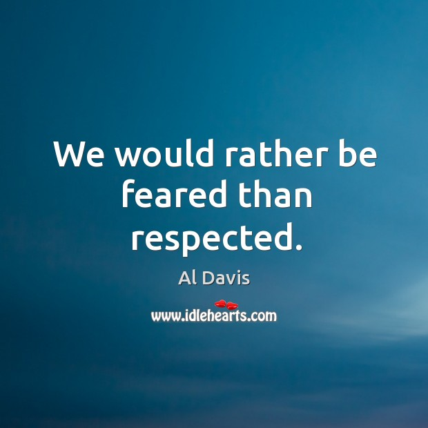 Image, We would rather be feared than respected.