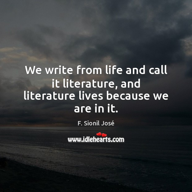 We write from life and call it literature, and literature lives because we are in it. Image