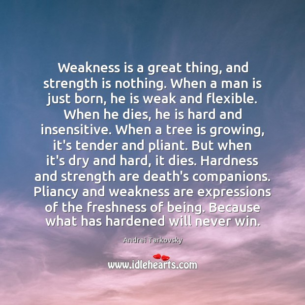 Weakness is a great thing, and strength is nothing. When a man Strength Quotes Image