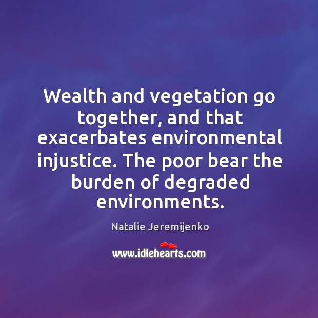 Wealth and vegetation go together, and that exacerbates environmental injustice. The poor Image