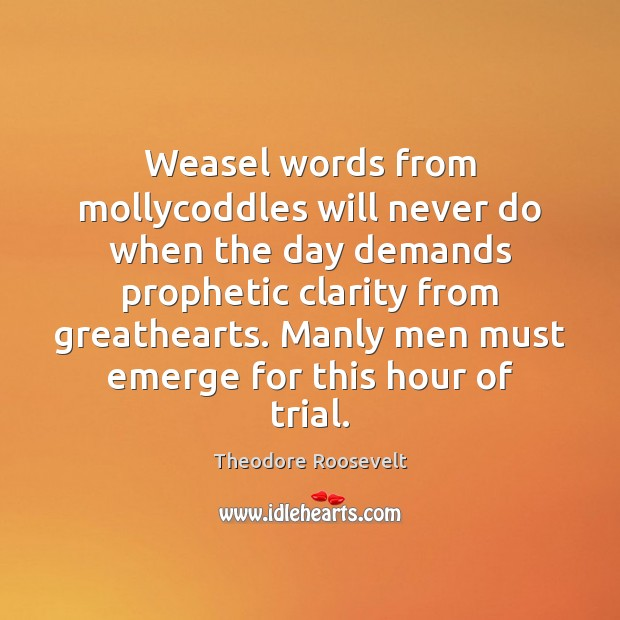 Weasel words from mollycoddles will never do when the day demands prophetic Image
