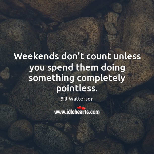 Weekends don't count unless you spend them doing something completely pointless. Bill Watterson Picture Quote