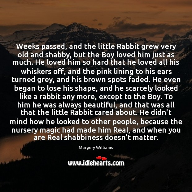 Weeks passed, and the little Rabbit grew very old and shabby, but Image
