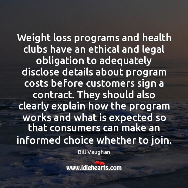 Weight loss programs and health clubs have an ethical and legal obligation Image