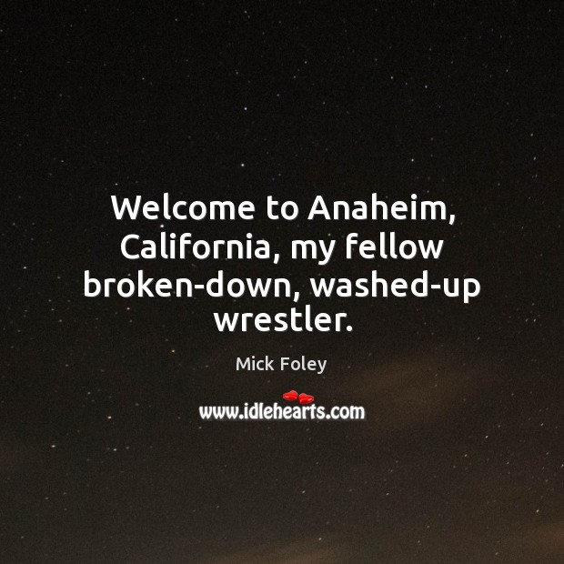 Welcome to Anaheim, California, my fellow broken-down, washed-up wrestler. Image