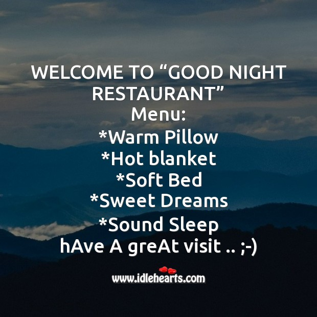 """Image, Welcome to """"good night restaurant"""""""