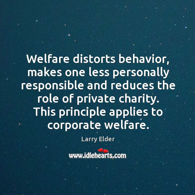 Image, Welfare distorts behavior, makes one less personally responsible and reduces the role