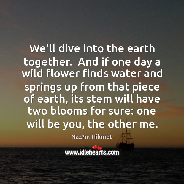 We'll dive into the earth together.  And if one day a wild Image