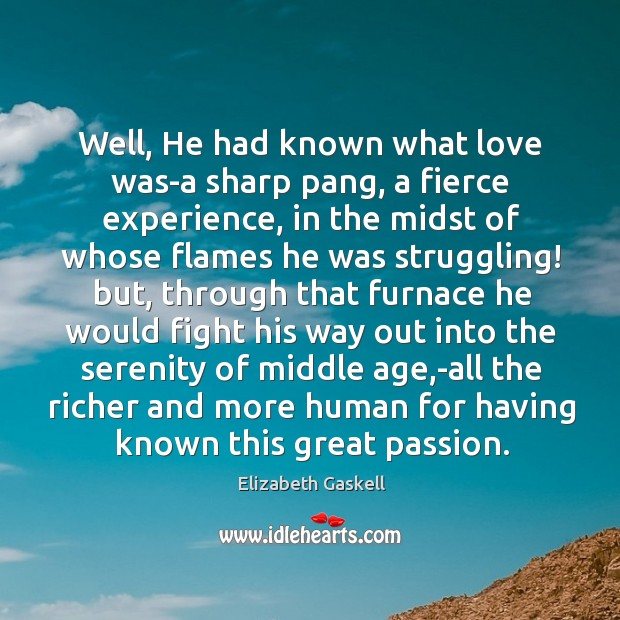Image, Well, He had known what love was-a sharp pang, a fierce experience,
