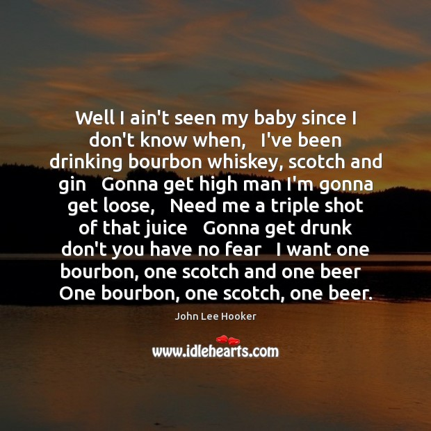 Well I ain't seen my baby since I don't know when,   I've John Lee Hooker Picture Quote