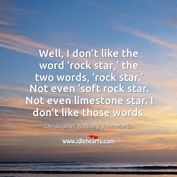 Well, I don't like the word 'rock star,' the two words, 'rock star.' not even 'soft rock star. Image