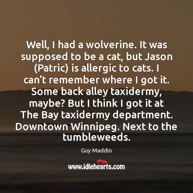 Image, Well, I had a wolverine. It was supposed to be a cat,