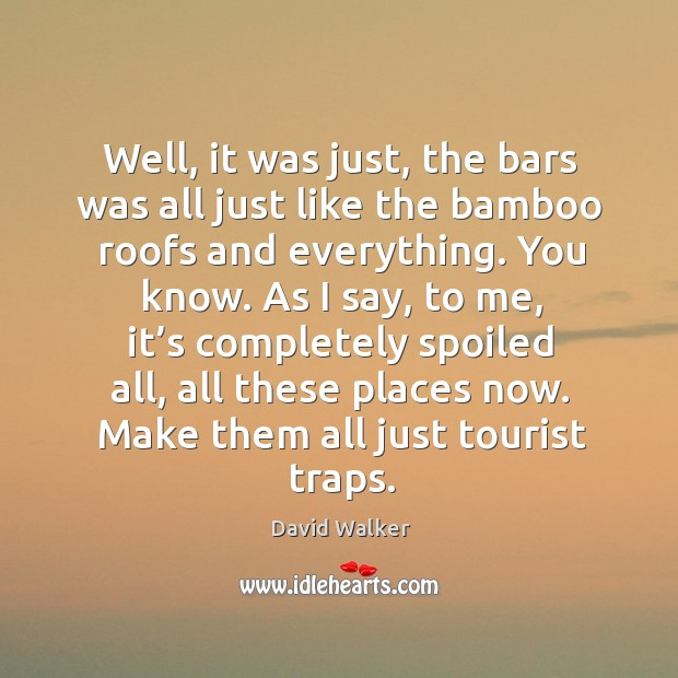 Well, it was just, the bars was all just like the bamboo roofs and everything. You know. David Walker Picture Quote