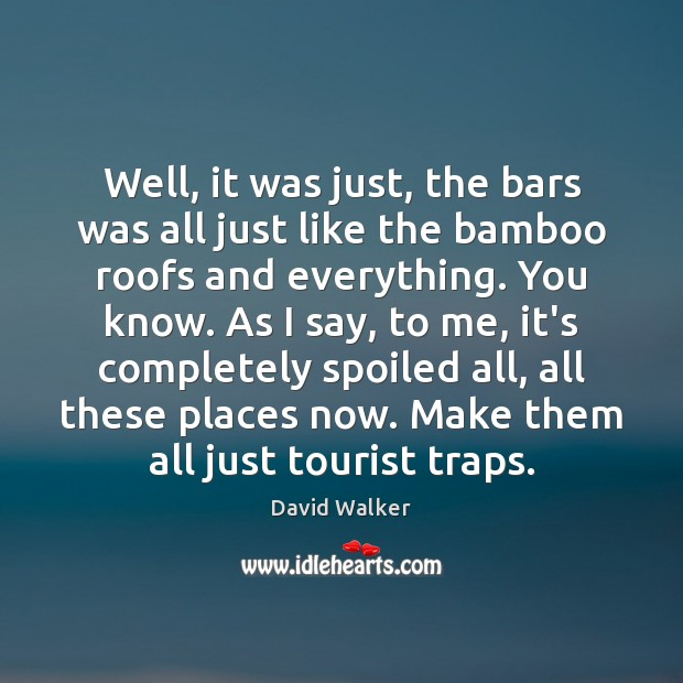 Well, it was just, the bars was all just like the bamboo David Walker Picture Quote