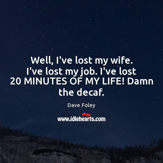 Well, I've lost my wife. I've lost my job. I've lost 20 MINUTES Dave Foley Picture Quote