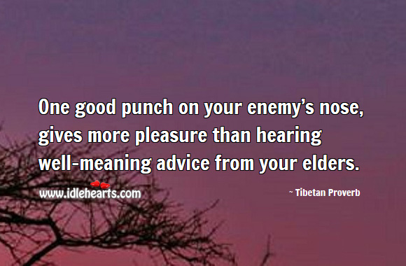 One good punch on your enemy's nose, gives more pleasure than hearing well-meaning advice from your elders. Tibetan Proverbs Image
