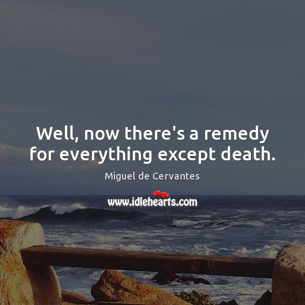 Well, now there's a remedy for everything except death. Image