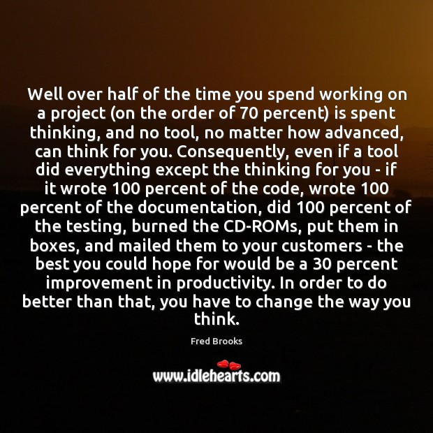 Well over half of the time you spend working on a project ( Image
