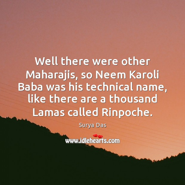 Well There Were Other Maharajis So Neem Karoli Baba Was His Technical