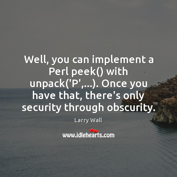 Well, you can implement a Perl peek() with unpack('P',…). Once you Larry Wall Picture Quote