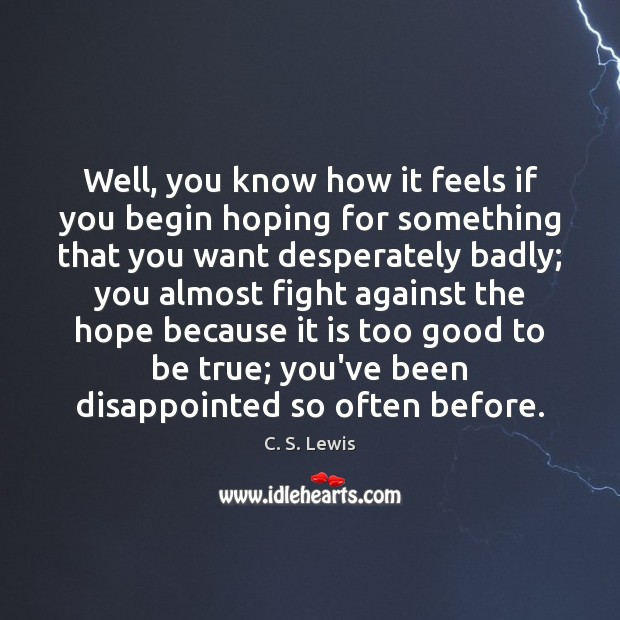 Well, you know how it feels if you begin hoping for something Too Good To Be True Quotes Image