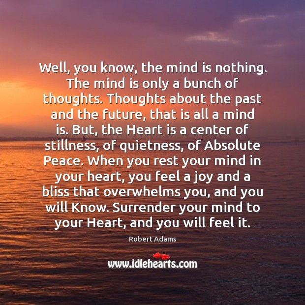 Well, you know, the mind is nothing. The mind is only a Robert Adams Picture Quote
