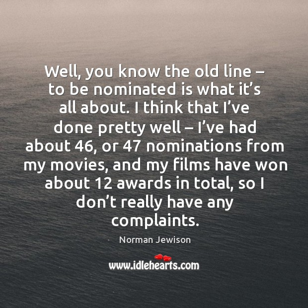 Well, you know the old line – to be nominated is what it's all about. Image