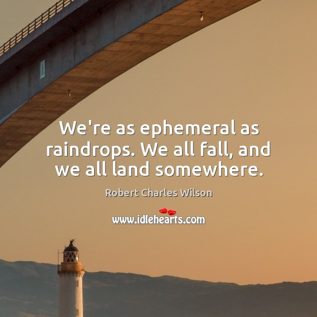 We're as ephemeral as raindrops. We all fall, and we all land somewhere. Robert Charles Wilson Picture Quote