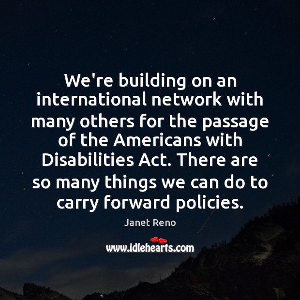 We're building on an international network with many others for the passage Image