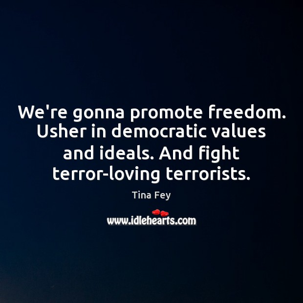 We're gonna promote freedom. Usher in democratic values and ideals. And fight Tina Fey Picture Quote