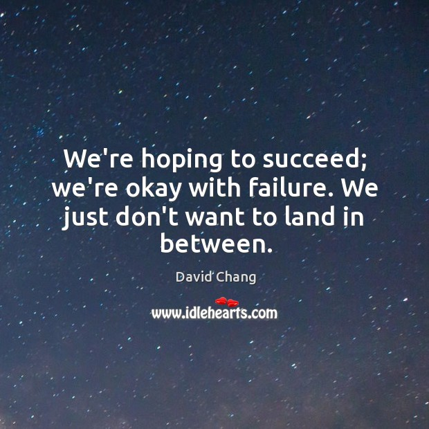 We're hoping to succeed; we're okay with failure. We just don't want to land in between. Image