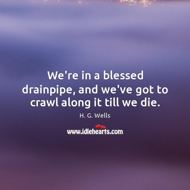 We're in a blessed drainpipe, and we've got to crawl along it till we die. Image