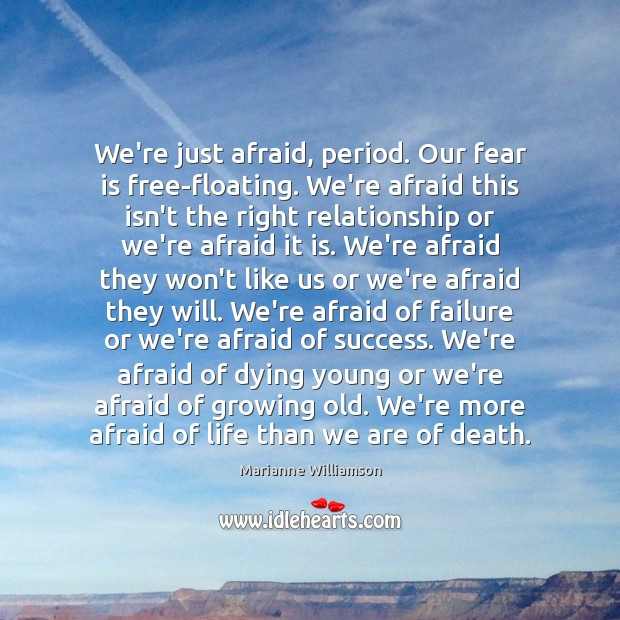 We're just afraid, period. Our fear is free-floating. We're afraid this isn't Image
