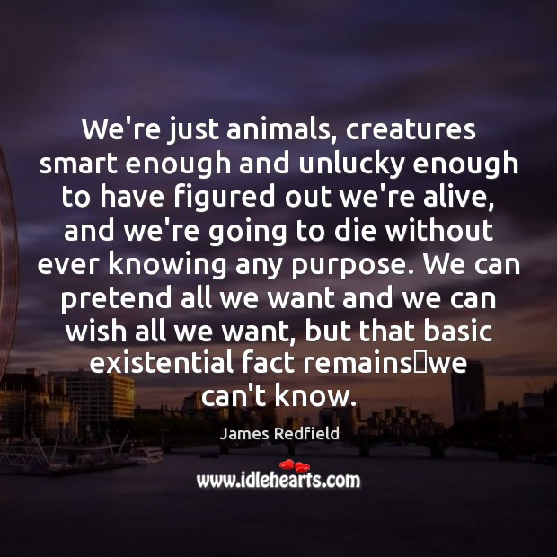 We're just animals, creatures smart enough and unlucky enough to have figured James Redfield Picture Quote