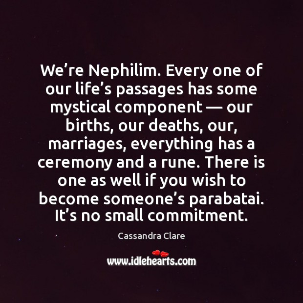 We're Nephilim. Every one of our life's passages has some Cassandra Clare Picture Quote
