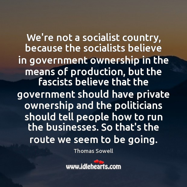 We're not a socialist country, because the socialists believe in government ownership Thomas Sowell Picture Quote