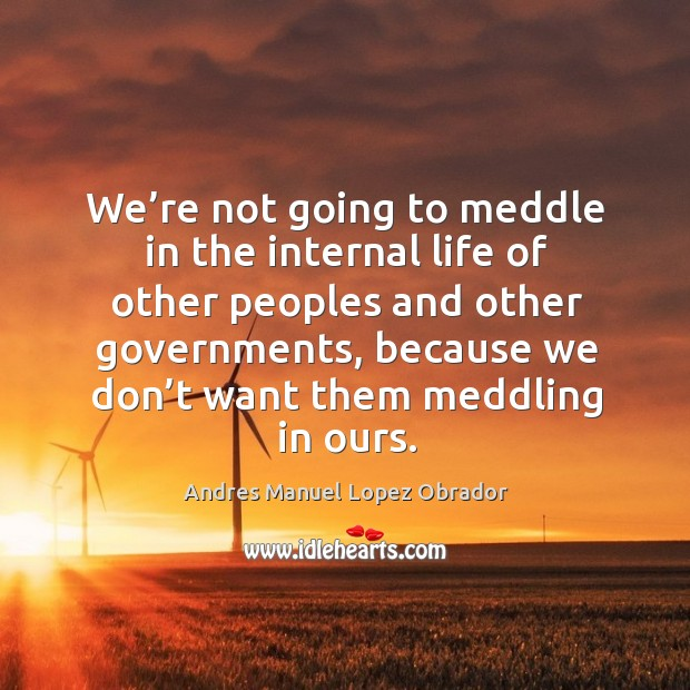 Image, We're not going to meddle in the internal life of other peoples and other governments