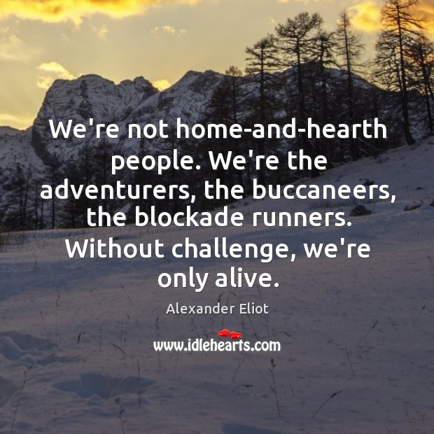 We're not home-and-hearth people. We're the adventurers, the buccaneers, the blockade runners. Image