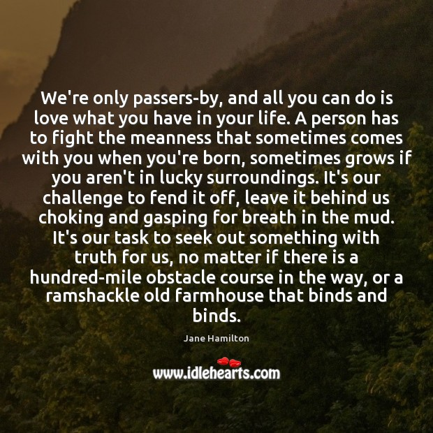 We're only passers-by, and all you can do is love what you Challenge Quotes Image