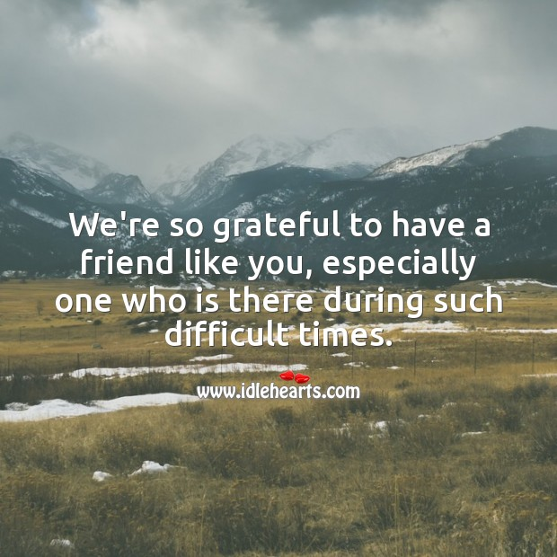 We're so grateful to have a friend like you, especially in such difficult times. Sympathy Quotes Image