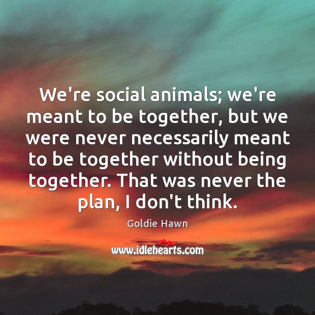 Image, We're social animals; we're meant to be together, but we were never