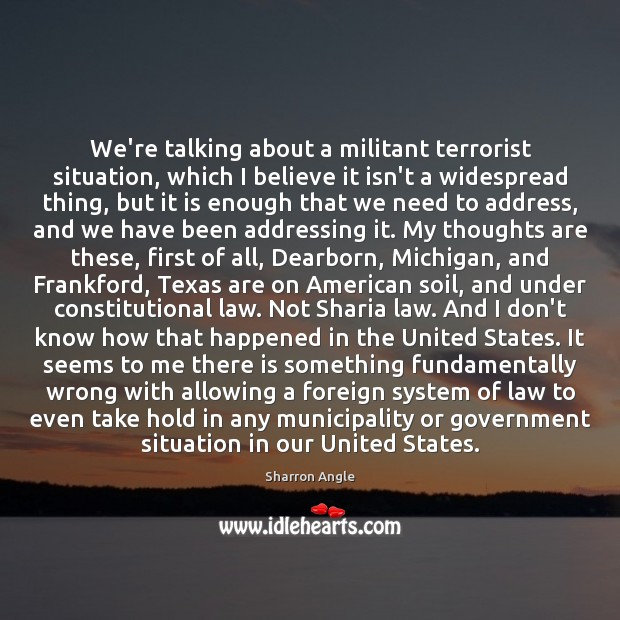 We're talking about a militant terrorist situation, which I believe it isn't Sharron Angle Picture Quote