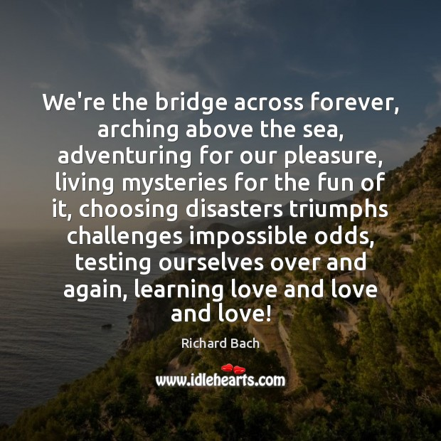 We're the bridge across forever, arching above the sea, adventuring for our Richard Bach Picture Quote