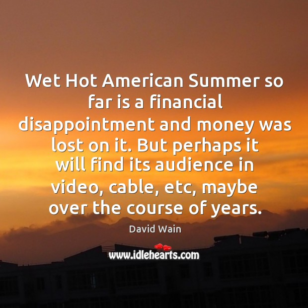 Wet hot american summer so far is a financial disappointment and money was lost on it. David Wain Picture Quote