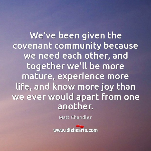 We've been given the covenant community because we need each other, Image
