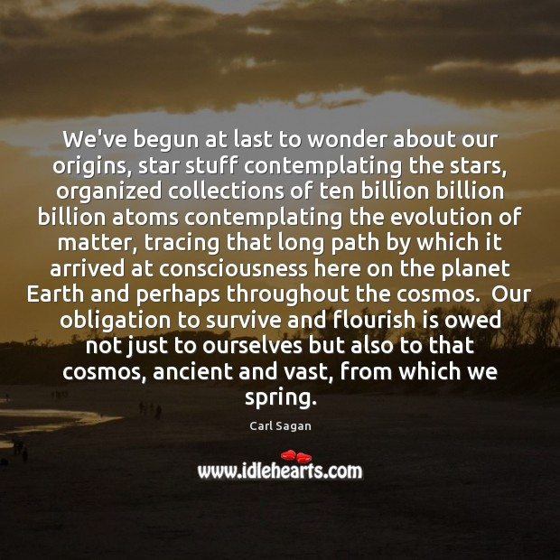We've begun at last to wonder about our origins, star stuff contemplating Carl Sagan Picture Quote