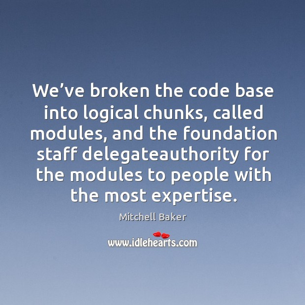 We've broken the code base into logical chunks, called modules, and the foundation staff Image